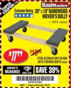 "Harbor Freight Coupon 30"" X 18"" 1000LB. MOVERS DOLLY Lot No. 92486/39757/60496/62398/61897/38970 Expired: 7/24/18 - $11.99"