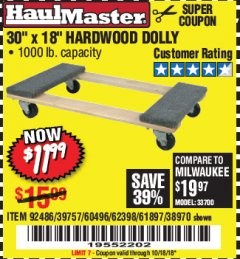 "Harbor Freight Coupon 30"" X 18"" 1000LB. MOVERS DOLLY Lot No. 92486/39757/60496/62398/61897/38970 Expired: 10/18/18 - $11.99"