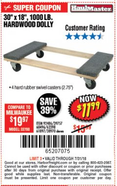 "Harbor Freight Coupon 30"" X 18"" 1000LB. MOVERS DOLLY Lot No. 92486/39757/60496/62398/61897/38970 Expired: 7/31/18 - $11.99"