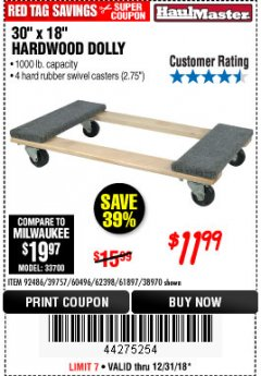 "Harbor Freight Coupon 30"" X 18"" 1000LB. MOVERS DOLLY Lot No. 92486/39757/60496/62398/61897/38970 Expired: 12/31/18 - $11.99"