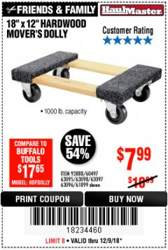 "Harbor Freight Coupon 30"" X 18"" 1000LB. MOVERS DOLLY Lot No. 92486/39757/60496/62398/61897/38970 Expired: 12/9/18 - $7.99"
