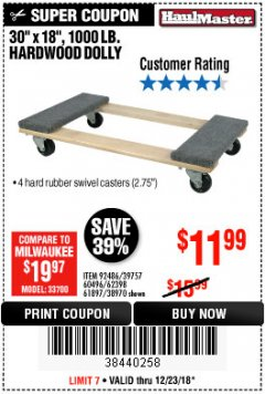 "Harbor Freight Coupon 30"" X 18"" 1000LB. MOVERS DOLLY Lot No. 92486/39757/60496/62398/61897/38970 Expired: 12/23/18 - $11.99"