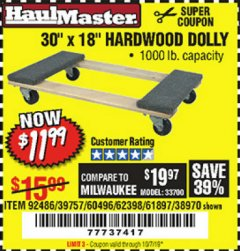 "Harbor Freight Coupon 30"" X 18"" 1000LB. MOVERS DOLLY Lot No. 92486/39757/60496/62398/61897/38970 Expired: 10/1/19 - $11.99"