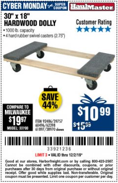 "Harbor Freight Coupon 30"" X 18"" 1000LB. MOVERS DOLLY Lot No. 92486/39757/60496/62398/61897/38970 Expired: 12/2/19 - $10.99"