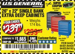 "Harbor Freight Coupon 26"" X 22"" SINGLE BANK EXTRA DEEP CABINETS Lot No. 64434/64433/64432/64431/64163/64162/56234/56233/56235/56104/56105/56106 Expired: 5/6/19 - $239.99"
