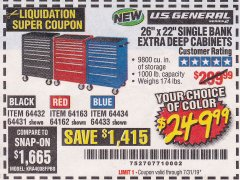 "Harbor Freight Coupon 26"" X 22"" SINGLE BANK EXTRA DEEP CABINETS Lot No. 64434/64433/64432/64431/64163/64162/56234/56233/56235/56104/56105/56106 Expired: 7/31/19 - $249.99"