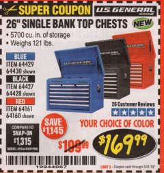 "Harbor Freight Coupon 26"" SINGLE BANK TOP CHESTS Lot No. 64160/64161/64429/64430/64427/64428/56107/56231/56109/56232/56108/56230 Expired: 3/31/19 - $169.99"