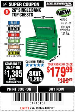 "Harbor Freight Coupon 26"" SINGLE BANK TOP CHESTS Lot No. 64160/64161/64429/64430/64427/64428/56107/56231/56109/56232/56108/56230 Expired: 4/28/19 - $179.99"