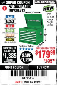 "Harbor Freight Coupon 26"" SINGLE BANK TOP CHESTS Lot No. 64160/64161/64429/64430/64427/64428/56107/56231/56109/56232/56108/56230 Expired: 4/29/19 - $179.99"