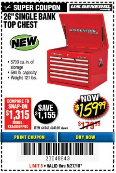 "Harbor Freight Coupon 26"" SINGLE BANK TOP CHESTS Lot No. 64160/64161/64429/64430/64427/64428/56107/56231/56109/56232/56108/56230 Expired: 5/27/18 - $159.99"