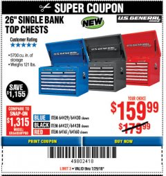 "Harbor Freight Coupon 26"" SINGLE BANK TOP CHESTS Lot No. 64160/64161/64429/64430/64427/64428/56107/56231/56109/56232/56108/56230 Expired: 7/29/18 - $159.99"