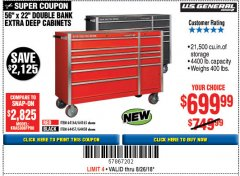 "Harbor Freight Coupon 56"" X 22"" DOUBLE BANK EXTRA DEEP CABINETS Lot No. 64458/64457/64164/64165 Expired: 8/26/18 - $699.99"