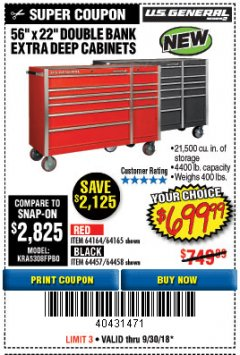 "Harbor Freight Coupon 56"" X 22"" DOUBLE BANK EXTRA DEEP CABINETS Lot No. 64458/64457/64164/64165 Expired: 9/30/18 - $699.99"