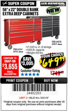 "Harbor Freight Coupon 56"" X 22"" DOUBLE BANK EXTRA DEEP CABINETS Lot No. 64458/64457/64164/64165 Expired: 10/21/18 - $649.99"
