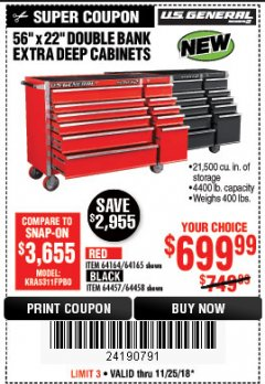 "Harbor Freight Coupon 56"" X 22"" DOUBLE BANK EXTRA DEEP CABINETS Lot No. 64458/64457/64164/64165 Expired: 11/25/18 - $699.99"