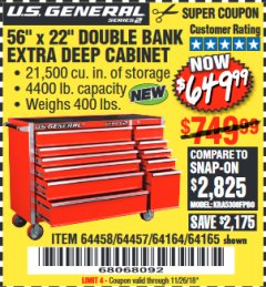 "Harbor Freight Coupon 56"" X 22"" DOUBLE BANK EXTRA DEEP CABINETS Lot No. 64458/64457/64164/64165 Expired: 11/26/18 - $649.99"