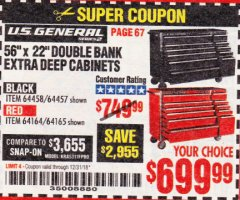 "Harbor Freight Coupon 56"" X 22"" DOUBLE BANK EXTRA DEEP CABINETS Lot No. 64458/64457/64164/64165 Expired: 12/31/18 - $699.99"