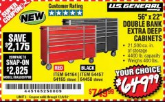 "Harbor Freight Coupon 56"" X 22"" DOUBLE BANK EXTRA DEEP CABINETS Lot No. 64458/64457/64164/64165 Expired: 12/8/18 - $649.99"