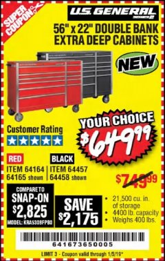 "Harbor Freight Coupon 56"" X 22"" DOUBLE BANK EXTRA DEEP CABINETS Lot No. 64458/64457/64164/64165 Expired: 1/5/19 - $649.99"