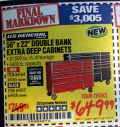 "Harbor Freight Coupon 56"" X 22"" DOUBLE BANK EXTRA DEEP CABINETS Lot No. 64458/64457/64164/64165 Valid Thru: 2/28/19 - $649.99"