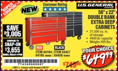 "Harbor Freight Coupon 56"" X 22"" DOUBLE BANK EXTRA DEEP CABINETS Lot No. 64458/64457/64164/64165 Valid Thru: 3/30/19 - $649.99"