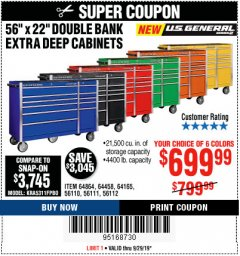 "Harbor Freight Coupon 56"" X 22"" DOUBLE BANK EXTRA DEEP CABINETS Lot No. 64458/64457/64164/64165/64866/64864/56110/56111/56112 Valid: 9/16/19 9/29/19 - $699.99"