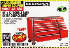 "Harbor Freight Coupon 56"" X 22"" DOUBLE BANK EXTRA DEEP CABINETS Lot No. 64458/64457/64164/64165 Expired: 6/30/18 - $699.99"