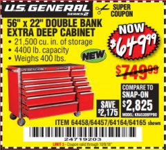"Harbor Freight Coupon 56"" X 22"" DOUBLE BANK EXTRA DEEP CABINETS Lot No. 64458/64457/64164/64165 Expired: 10/8/18 - $649.99"