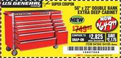 "Harbor Freight Coupon 56"" X 22"" DOUBLE BANK EXTRA DEEP CABINETS Lot No. 64458/64457/64164/64165 Expired: 10/1/18 - $649.99"