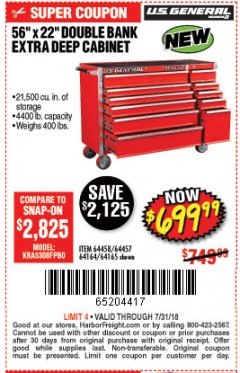 "Harbor Freight Coupon 56"" X 22"" DOUBLE BANK EXTRA DEEP CABINETS Lot No. 64458/64457/64164/64165 Expired: 7/31/18 - $699.99"