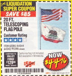 Harbor Freight Coupon 20 FT. TELESCOPING FLAG POLE Lot No. 62285/64344/64342/95598 Expired: 6/30/18 - $44.76