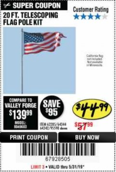 Harbor Freight Coupon 20 FT. TELESCOPING FLAG POLE Lot No. 62285/64344/64342/95598 Expired: 5/31/19 - $44.99