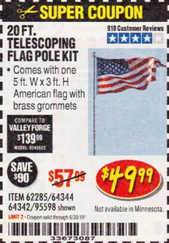 Harbor Freight Coupon 20 FT. TELESCOPING FLAG POLE Lot No. 62285/64344/64342/95598 Expired: 6/30/19 - $49.99