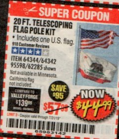 Harbor Freight Coupon 20 FT. TELESCOPING FLAG POLE Lot No. 62285/64344/64342/95598 Expired: 7/31/19 - $44.99