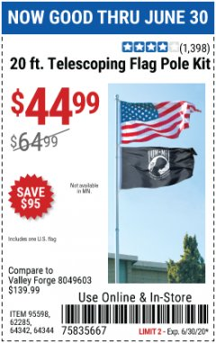 Harbor Freight Coupon 20 FT. TELESCOPING FLAG POLE Lot No. 62285/64344/64342/95598 Expired: 6/30/20 - $44.99
