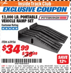Harbor Freight ITC Coupon 2 PIECE AUTO RAMP SETS POLYPROPYLENE Lot No. 63956 Expired: 10/31/18 - $34.99