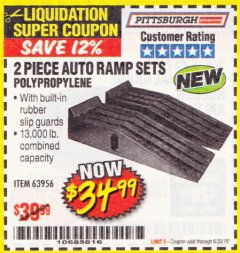 Harbor Freight Coupon 2 PIECE AUTO RAMP SETS POLYPROPYLENE Lot No. 63956 Expired: 6/30/18 - $34.99