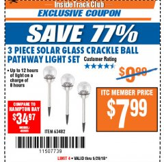Harbor Freight ITC Coupon 3 PIECE SOLAR GLASS CRACKLE BALL PATHWAY LIGHT SET Lot No. 63482 Expired: 5/29/18 - $7.99