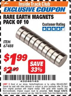 Harbor Freight ITC Coupon RARE EARTH MAGNETS PACK OF 10 Lot No. 67488 Expired: 6/30/18 - $1.99