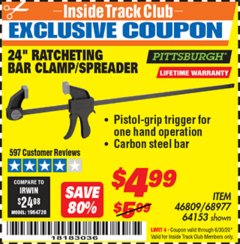 "Harbor Freight ITC Coupon 24"" RATCHET BAR CLAMP/SPREADER Lot No. 68977/62112/64153/46809 Dates Valid: 12/31/69 - 6/30/20 - $4.99"