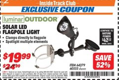Harbor Freight ITC Coupon SOLAR LED FLAGPOLE LIGHT Lot No. 64279 Expired: 6/30/18 - $19.99