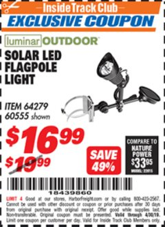 Harbor Freight ITC Coupon SOLAR LED FLAGPOLE LIGHT Lot No. 64279 Expired: 4/30/19 - $16.99