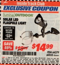 Harbor Freight ITC Coupon SOLAR LED FLAGPOLE LIGHT Lot No. 64279 Expired: 7/31/19 - $14.99