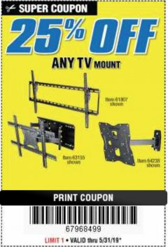 Harbor Freight Coupon 25 percent off coupon expires: 5/31/19