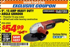 "Harbor Freight ITC Coupon 9"", 15 AMP HEAVY DUTY ANGLE GRINDER Lot No. 69085 Expired: 8/1/18 - $54.99"
