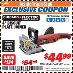 "Harbor Freight ITC Coupon 4"" BISCUIT PLATE JOINER Lot No. 38437/68987 Expired: 12/31/19 - $44.99"