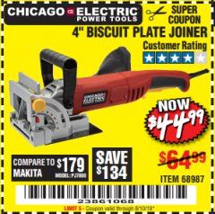 "Harbor Freight Coupon 4"" BISCUIT PLATE JOINER Lot No. 38437/68987 Expired: 8/10/18 - $44.99"