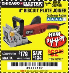 "Harbor Freight Coupon 4"" BISCUIT PLATE JOINER Lot No. 38437/68987 Expired: 6/19/19 - $44.99"