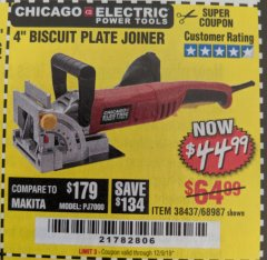 "Harbor Freight Coupon 4"" BISCUIT PLATE JOINER Lot No. 38437/68987 Expired: 12/9/19 - $44.99"