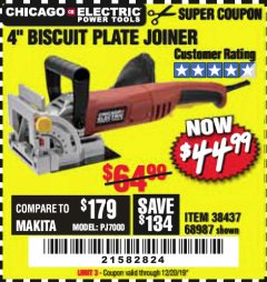 "Harbor Freight Coupon 4"" BISCUIT PLATE JOINER Lot No. 38437/68987 Expired: 12/20/19 - $44.99"